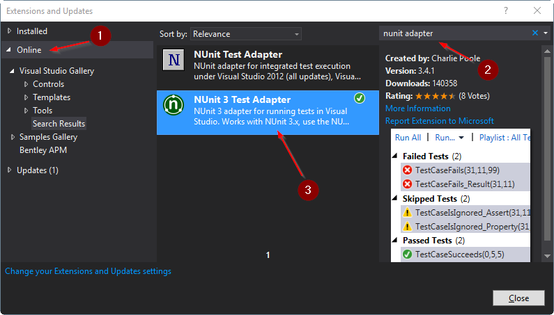 Install NUnit Visual Studio Adapter as an Extension