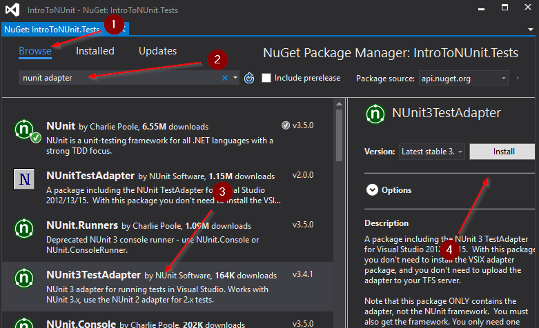 Install NUnit Visual Studio Adapter as NuGet Package